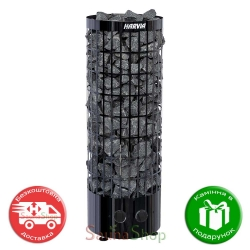 Harvia Cilindro PC 70 Black Steel, пульт на корпусе