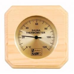 Термометр квадратный, сосна золотистое табло