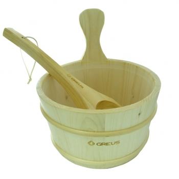 Шайка для сауны c пластиковой вставкой и черпаком, сосна