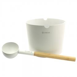 Шайка для ароматизаторов для сауны + черпак, Greus White