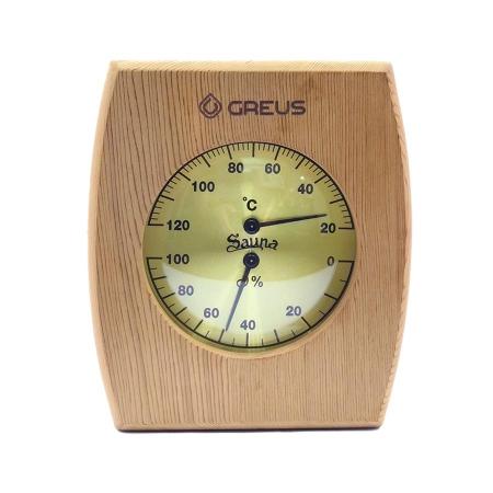 Кедровый термогигрометр для сауны Greus 160*145мм.