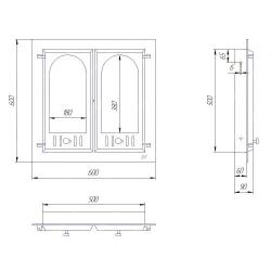Дверца для камина двухстворчатая 400 SVT