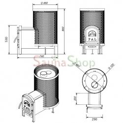 Дровяная печь PAL PR-18L с выносной чугунной дверцей