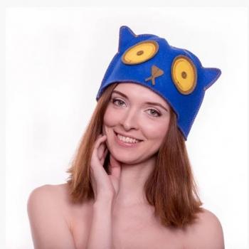 """Шапка для бани """"Синий котяра"""""""