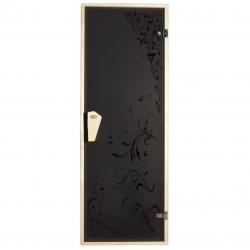"""Стеклянные двери для бани с рисунком Tesli """"RS"""""""