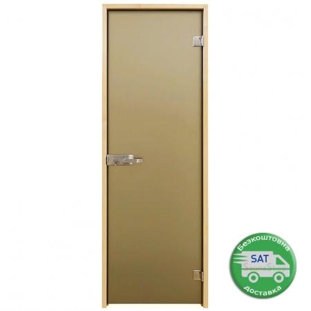 Стеклянные двери с замком Tesli Aqua Bronze Sateen, выбор размера