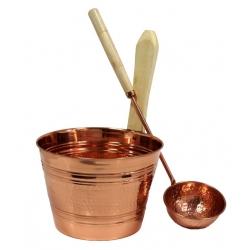 Медный набор для сауны шайка и ковш, Nikkarien