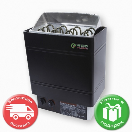 Электрокаменка для сауны и бани Eco Flame AMC-90 STJ 9 кВт пульт на корпусе