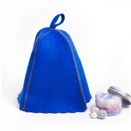 Шапка для бани из овечьей шерсти, цвет синий