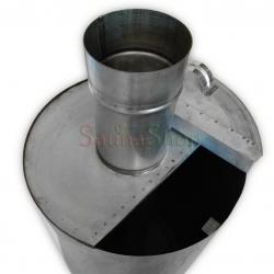 Бак 50л на трубе для бани, нержавейка 1.0мм d120мм с крышкой