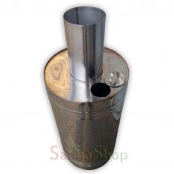 Бак 44л на трубе для бани, нержавейка AISI 321 d120мм c крышкой