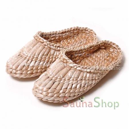 Тапочки из рогоза (лапти плетеные) для бани