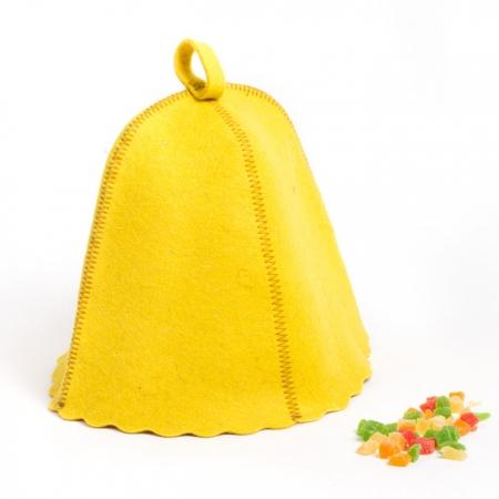 Колпак для сауны из овечьей шерсти, цвет желтый