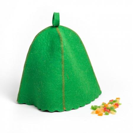 Фетровая шапка для сауны, цвет зеленый