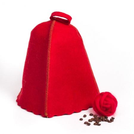 Шапка для сауны из овечьей шерсти, цвет красный