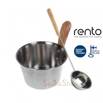 Шайка и черпак с нержавеющей стали для бани, Rento