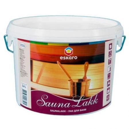 Полуматовый лак для стен бани Eskaro Saunalakk, 2.4л